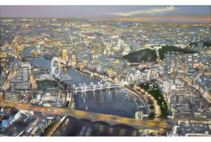 لوحة تصور لندن من الجو ـ ربما شاهدها من هيليكوبتروكلها من الذاكرة.. ومن يعرف لندن سيدرك مدى دقة المواقع