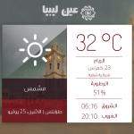 توقعات حالة الطقس في #طرابلس ليوم الاثنين 25 يوليو 2016