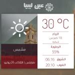 توقعات حالة الطقس في #طرابلس ليوم الثلاثاء 26 يوليو 2016