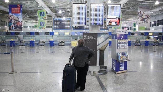 جانب من صالة المغادرة بمطار أثينا