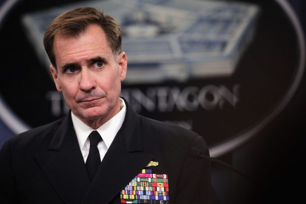 ARLINGTON, VA - AUGUST 29:  Pentagon Press Secretary Rear Admiral John Kirby listens during a press briefing at the Pentagon August 29, 2014 in Arlington, Virginia. Rear Admiral Kirby spoke on various topics including possible strategy against ISIL in Syria.  (Photo by Alex Wong/Getty Images)