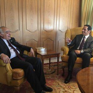 المبعوث الأممي غسان سلامة يبحثخطة عمل الأمم المتحدة معوزير الخارجية القطري محمد بن عبدالرحمن آل ثاني