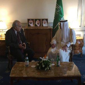 المبعوث الأممي غسان سلامة يبحثخطة عمل الأمم المتحدة مع وزير الخارجية السعودي عادل الجبير على هامش مؤتمر حوارات المتوسط بروما