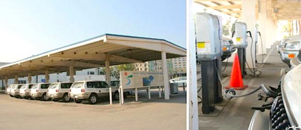استخدام مواقف السيارات لانتاج الطاقة المتجددة من خلال الالواح الشمسية والصور التي في الاعلى توضح استخدامها لشحن السيارات العاملة باستخدام الطاقة الكهربائية، طرق صديقة للبيئة ومفيدة.