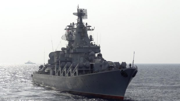 سفينة حربية روسية بالقرب من السواحل السورية في البحر المتوسط