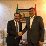 «ماتيو سالفيني» وزير الداخلية الإيطالي يصل إلى طرابلس ويلتقي وزير الداخلية بحكومة الوفاق عبد السلام عاشور.