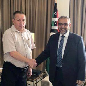 المشري يُعلن أمام السفير الروسي رفض الأعلى للدولة لتصريحات حفتر بدخول طرابلس