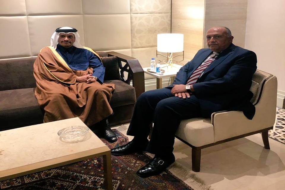 أول لقاء بين وزيري خارجية مصر وقطر منذ سنوات