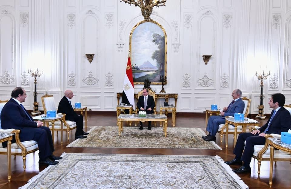 الرئيس المصري يستقبل عقيلة صالح وخليفة حفتر