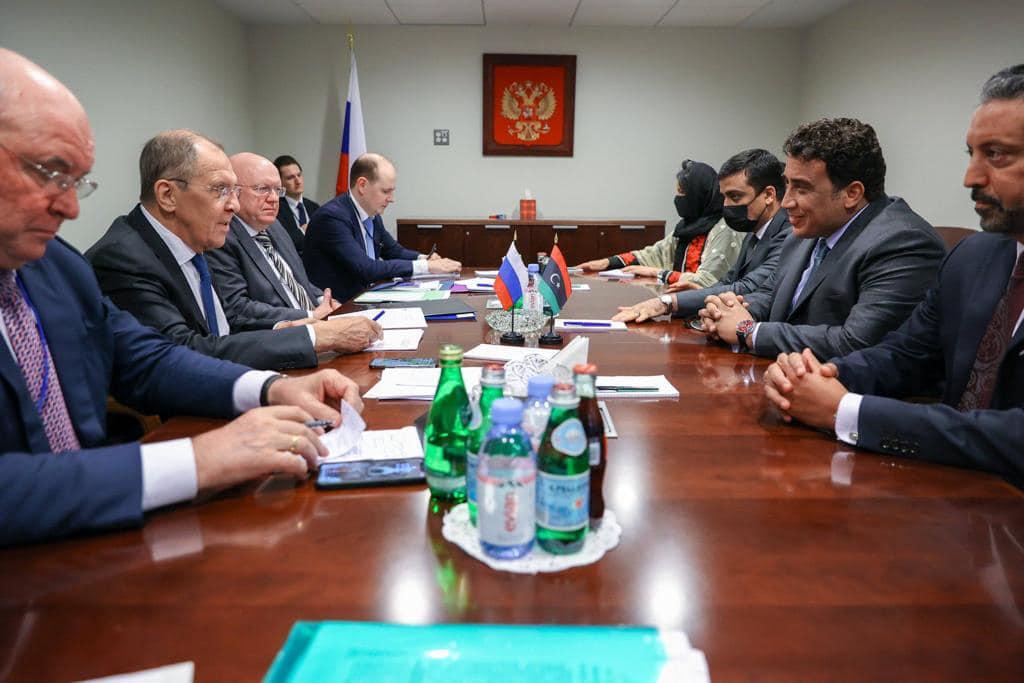دعم الاستقرار وخروج المرتزقة.. أهم محاور لقاء «المنفي» بوزير الخارجية الروسي