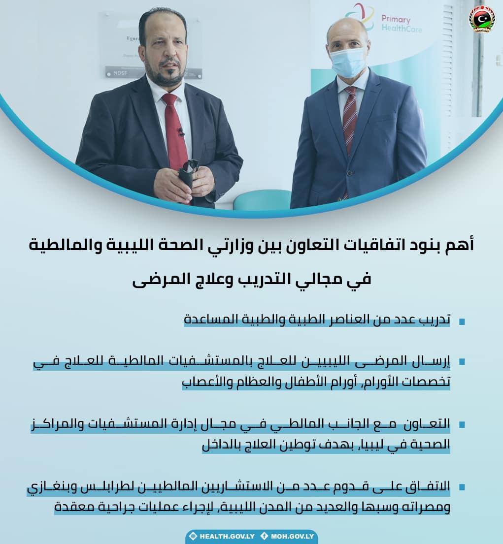 توقيع اتفاقيات للتعاون الصحي بين ليبيا ومالطا