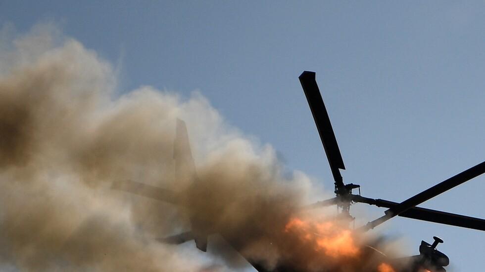 تحطم مروحيتين تابعتين لحفتر أثناء تدريبات جنوب بنغازي